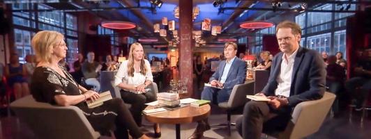 Die Runde des Schweizer Literaturclubs im August 2016: Elke Heidenreich, Nicola Steiner, Alain Claude Sulzer und Thomas Strässle (Foto: SRF - Klick vergrößert)