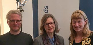 Die verlegerische Geschäftsführerin der S. Fischer Verlage Siv Bublitz (mitte) auf der Tagung des Deutchen Literaturfonds neben dem Verleger des Mairisch Verlags Daniel Beskos und der Leiterin des Oldenburger Literaturhauses Monika Eden
