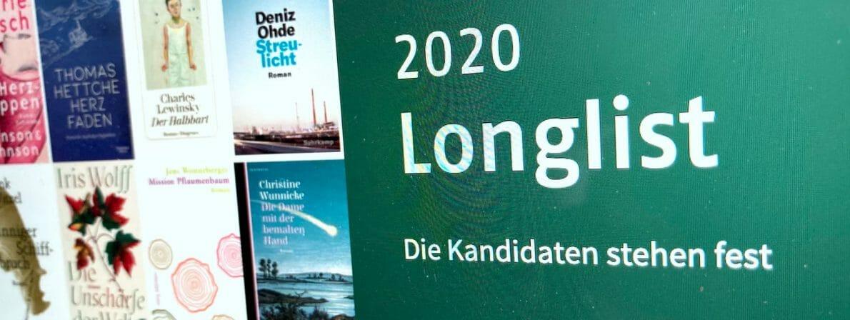 Die Longlist zum Deutschen Buchpreis 2020 wurde verkündet