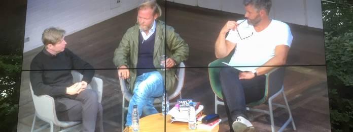 Übertragen im Park: (v. l. n. r.) Daniel Kehlmann, Christian Kracht und Marc-Christoph Wagner