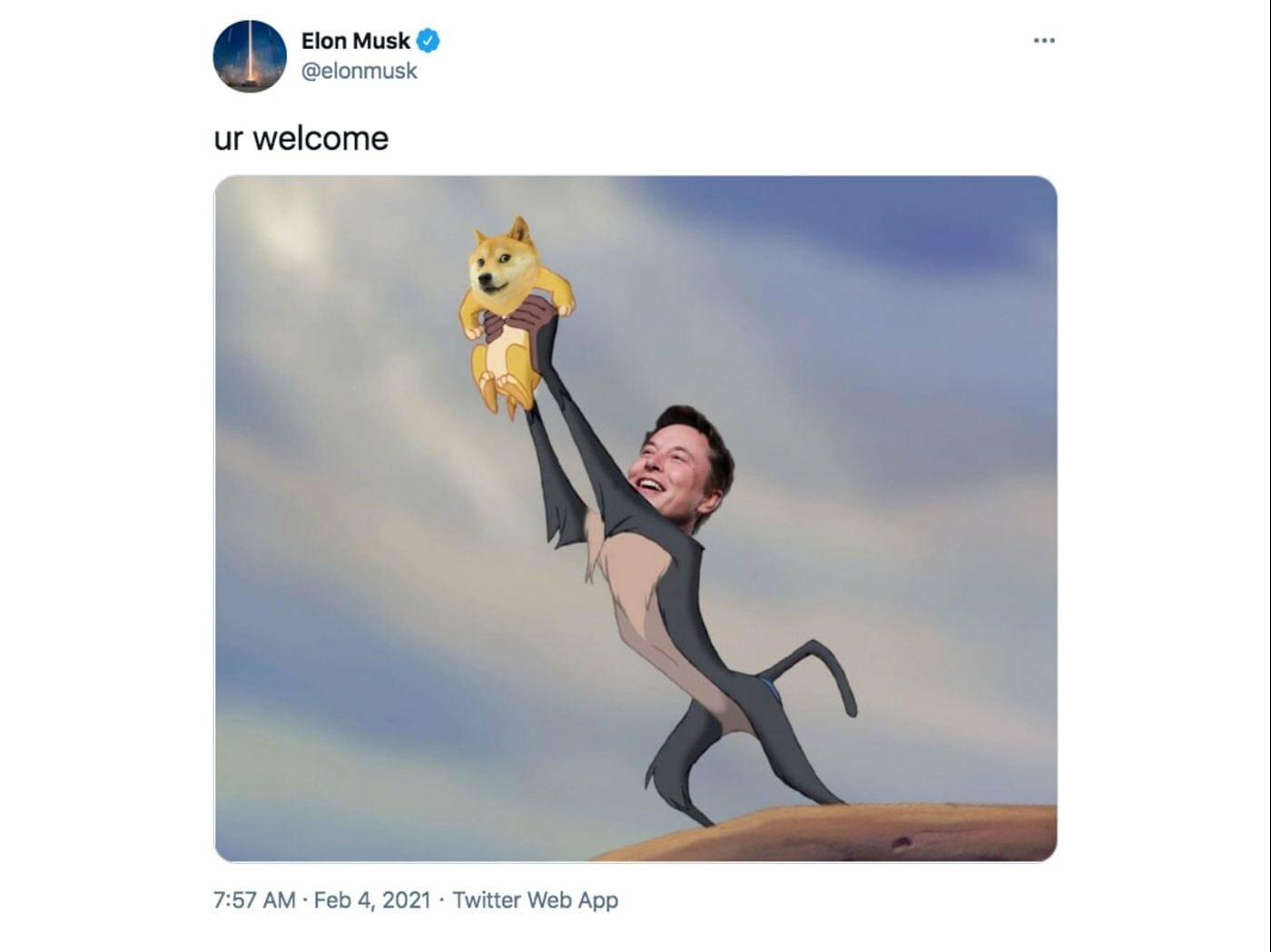 Dieses Meme auf Basis des Königs der Löwen spielt auf Elon Musk und den Dogecoin an und wurde von Musk selbst getweetet