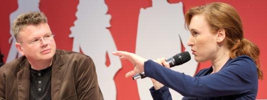 Nora Bossong im Gespräch mit Wolfgang Tischer (Foto: Birgit-Cathrin Duval)