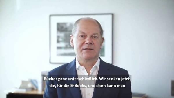 Bundesfinanzminister Olaf Scholz kündigt via Twitter die Gesetzesinitiative der Bundesregierung zur Senkung der Mehrwertsteuer auf E-Books an (Quelle: Twitter @OlafScholz)