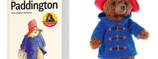 Zwei unserer Preise: Das Buch »Ein Bär namens Paddington« aus dem Beltz Verlag und ein Plüsch-Paddington (Abbildung nicht maßstabsgerecht)
