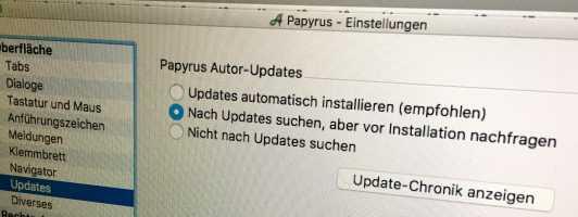 Update-Einstellugnen in Papyrus 8.5