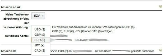 Für die Shops Amazon.co.uk und Amazon.com sollte bei der Auszahlung per Überweisung (EZV) immer EUR angegeben sein.