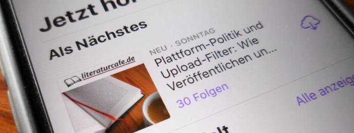 Der Podcast des literaturcafe.de auf einem Smartphone