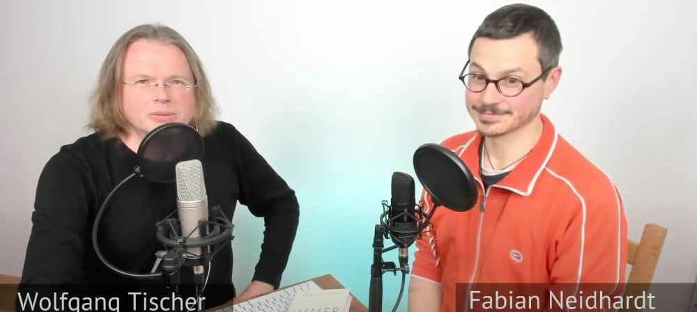 Wolfgang Tischer (links) und Fabian Neidhardt bei der Podcast-Aufnahme über das Buch »Immer noch wach« (Screenshot)
