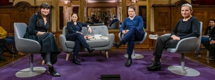 Das Literarische Quartett vom 06.03.2020: Vea Kaiser, Thea Dorn, Jakob Augstein und Marion Brasch (Foto: ZDF/Svea Pietschmann)