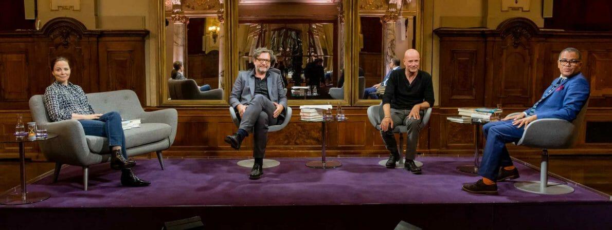 Das Literarische Quartett vom August 2021: Thea Dorn, David Schalko, Christian Berkel und Ijoma Mangold (Foto: ZDF/Svea Pietschmann)
