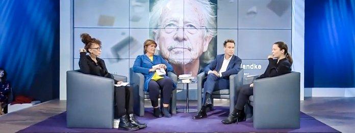 Und Handke hinter allen: Das Literarische Quartett vom 18.10.2019 (Foto: ZDF)