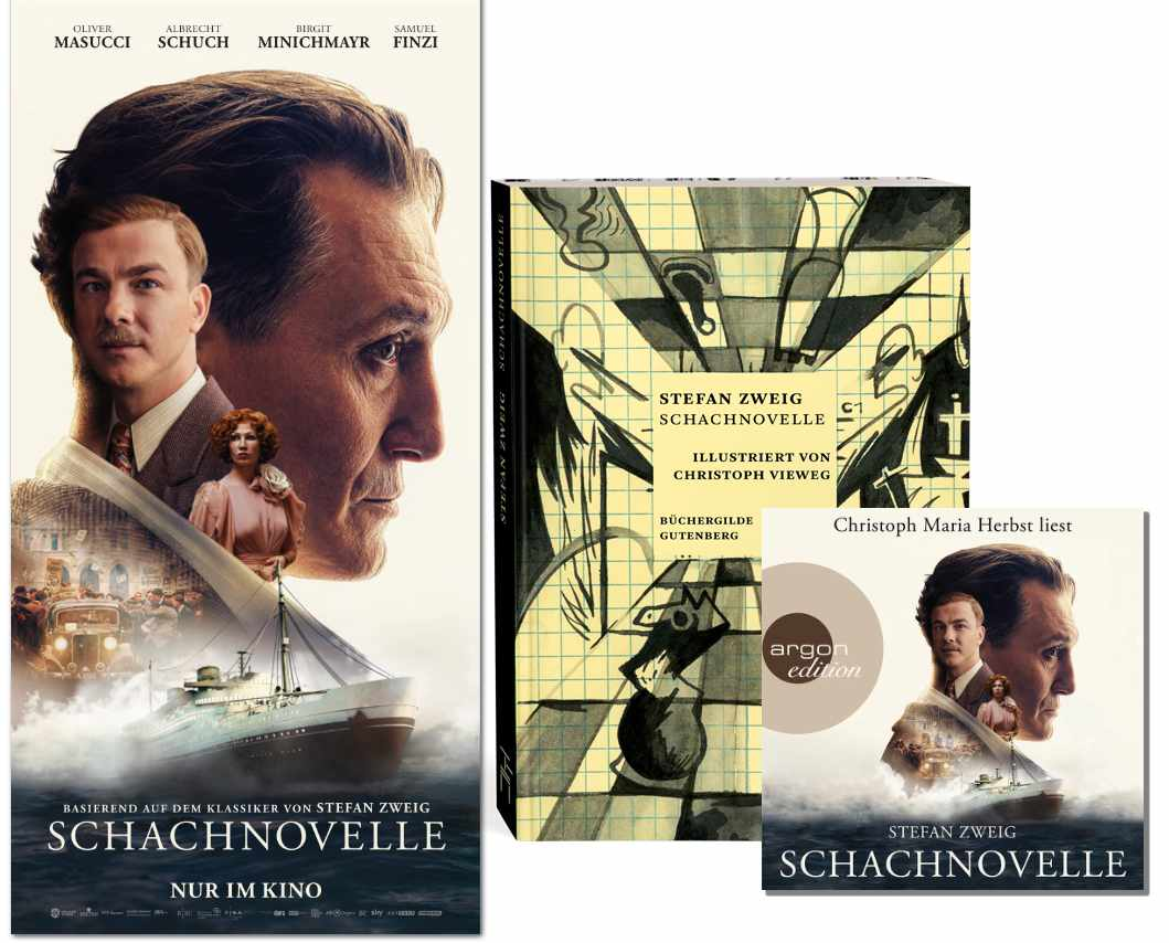 Die Gewinn-Pakete: Filmplakat, Buchausgabe und Hörbuch (Abbildung nicht maßstabsgetreu. Fotos: Argon, Büchergilde, Studiocanal)