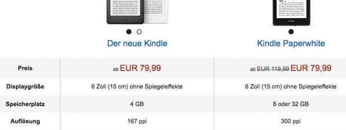 Preis-Absurdität zum Produktstart: Der besser ausgestattete Kindle-Paperwhite kostete Anfang April 2019 das gleiche wie das kleine Modell (Foto: Screenshot der Amazon-Website / Klick vergrößert)