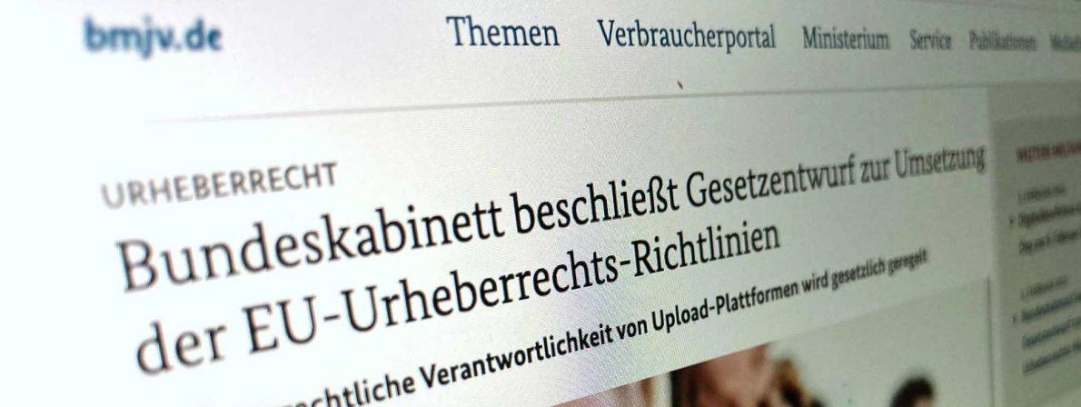 Screenshot: Mitteilung des Justizministeriums zur Urheberrechtsreform