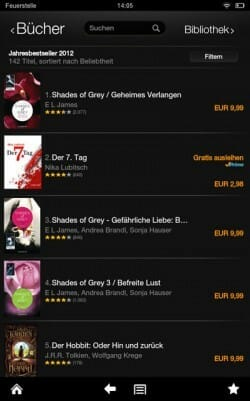Screenshot vom Kindle Fire der Top5-Titel