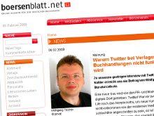 Artikel von Wolfgang Tischer über Twitter auf boersenblatt.net