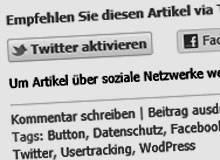 Facebook und WordPress: Mehr Datenschutz auf literaturcafe.de mit Social-Opt-In und Shariff