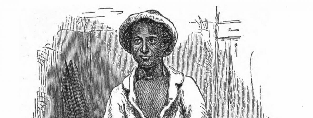 Der Autor Solomon Northup in seiner Arbeitskleidung als Baumwollpflücker. Kupferstich von Nathaniel Orr für die Erstausgabe von 1855.