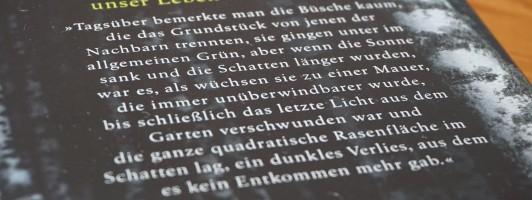 Der erste Satz mag der Schlüsel sein. Der Verlag hat ihn daher auch hinten aufs Buch gedruckt.