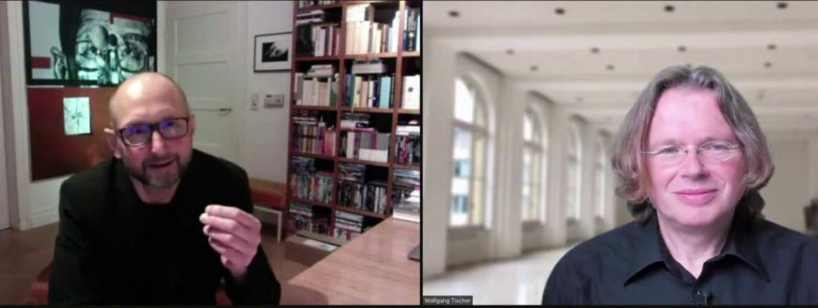 Heinrich Steinfest (links) im Gespräch mit Wolfgang Tischer (Zoom-Screenshot)