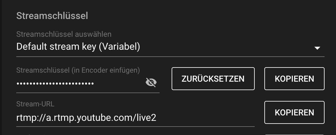 Die Stream-Einstellungen der YouTube-Veranstaltung benötigen wir gleich, um die Verbindung zu Zoom herzustellen