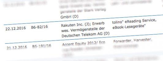 Die Rakuten-Telekom-Übernahme ist bei den laufenden Fusionskontrollverfahren gelistet (Stand: 31.12.2016)