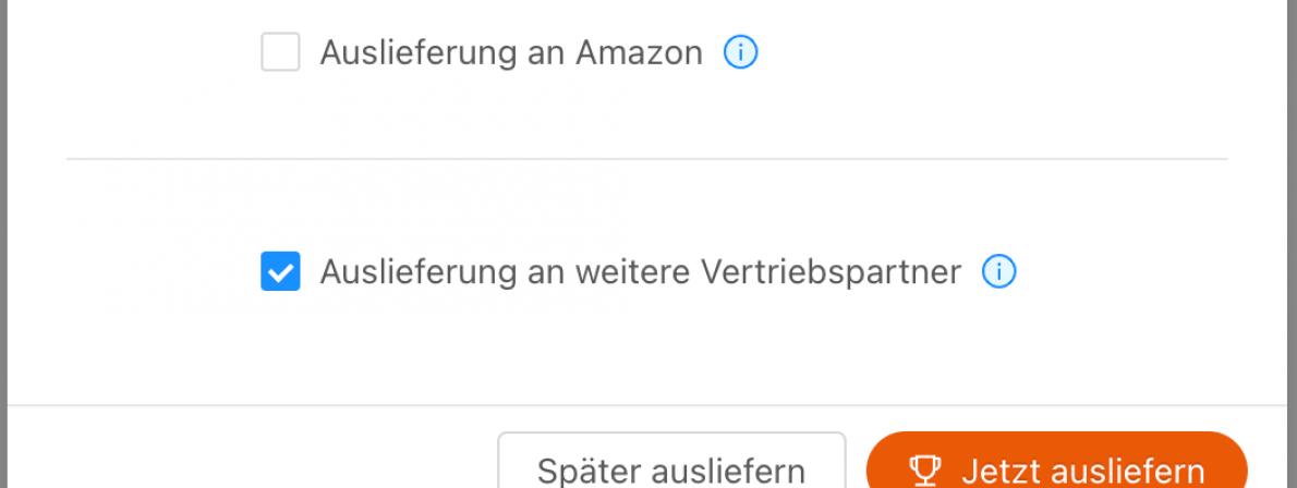 Bei den Titel-Einstellungen zu den Vertriebskanälen sollte man zumindest »Auslieferung an weitere Vertriebspartner« auswählen (Screenshot)