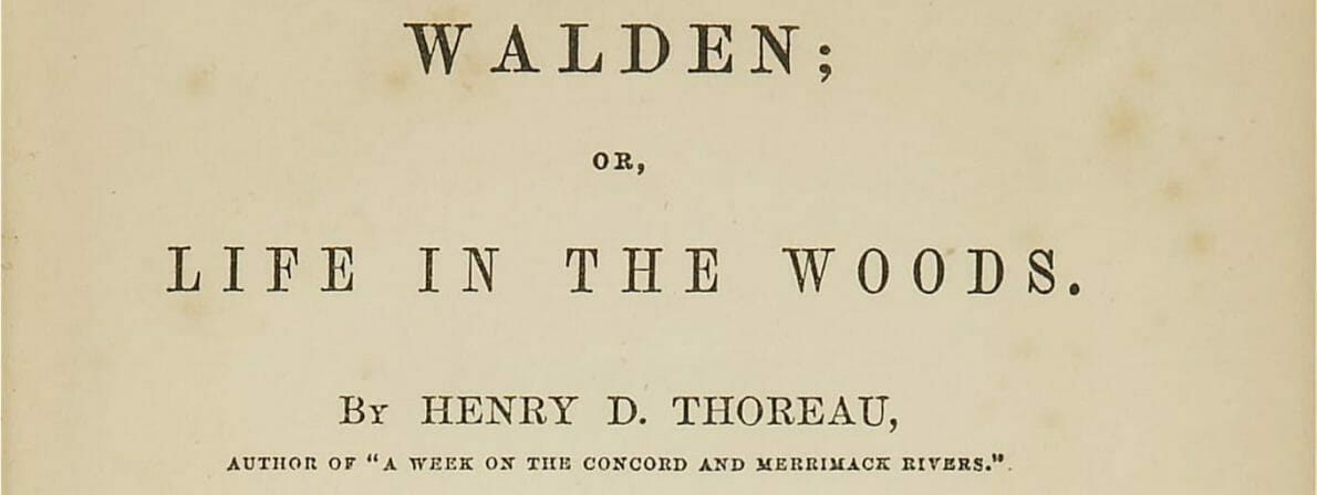 Titelbild der ersten »Walden«-Ausgabe von 1854. Die Zeichnung der Hütte stammt von Thoreaus Schwester Sophia. (Klick zum Vergrößern/Foto: Wikipedia/Public Domain)