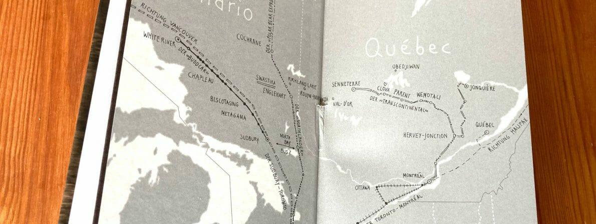 Im Vorsatz des Buches sind die Bahnlinien zu sehen, auf denen Gladys Comeau unterwegs ist.