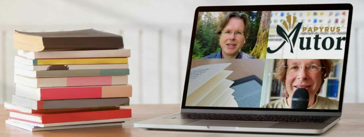 Notebook mit Webinaren literaturcafe.de 1/2021