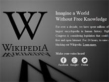 Am 18. Januar 2012 war die englische Startseite der Wikipedia schwarz