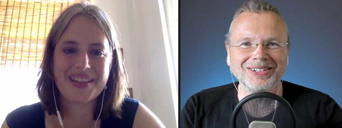 Insa Wilke und Wolfgang Tischer bei der Podcast-Aufnahme via Zoom (Foto: Screenshot)