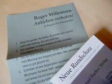 Für die Jubiläumsausgabe der Neuen Rundschau hat Roger Willemsen 13 Regeln für Schriftsteller zusammengestellt