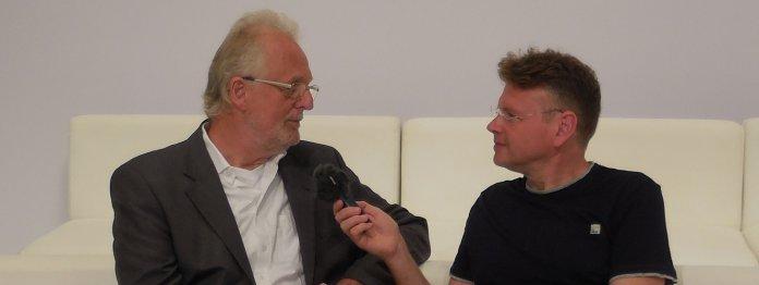 Hubert Winkels (rechts) im Gespräch mit Wolfgang Tischer