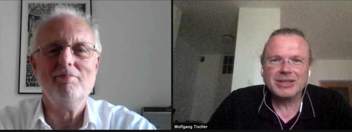 Hubert Winkels (links) und Wolfgang Tischer reden für den Podcast via Zoom über die »Klagenfurter Rede zur Literaturkritik«