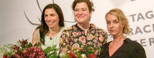 Die Klagenfurter Gewinnerinnen (von links): Dana Grigorcea (3sat-Preis), Nora Gomringer (Bachmannpreis) und Valerie Fritsch (Kelag-Preis)