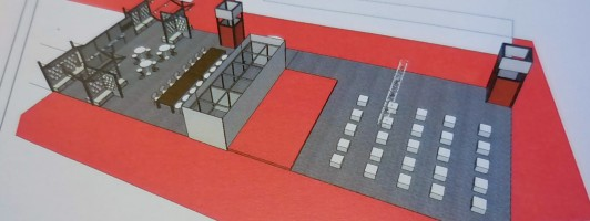 Bühne der Self-Publishing Area mit Bereich für Tischgespräche