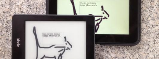 Kinderbuch als E-Book auf Kindle Paperwhite und Kindle Fire (hinten)