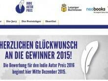 Screenshot der Indie-Autor-Preis-Website