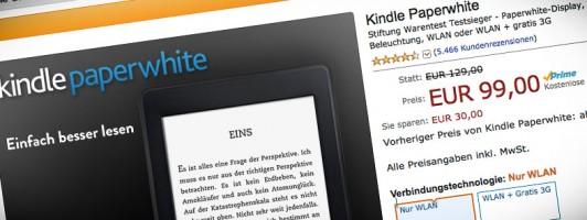 Den Kindle Paperwhite gibt es jetzt für 99 Euro