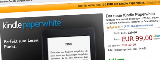 Kindle Paperwhite für 99 Euro