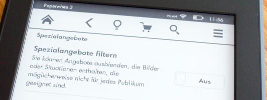 Filter für »Spezialangebote« auf dem Kindle Paperwhite