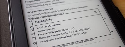 Unter »Geräteinfo« kann man die aktuelle Softwareversion nachsehen (Mac-Adressse und Seriennummern wurden auf dem Foto unkenntlich gemacht)