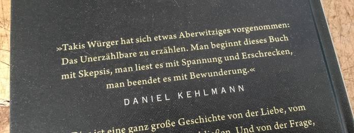 Werbezitat (Blurb) von Daniel Kehlmann auf der Rückseite des Buches