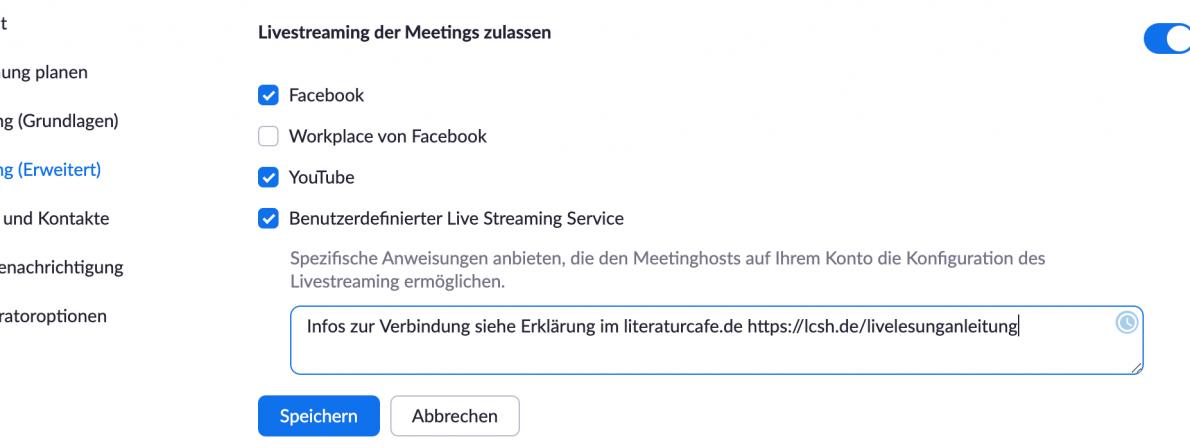 In den Zoom-Einstellungen aktivieren Sie einmalig das Live-Streaming