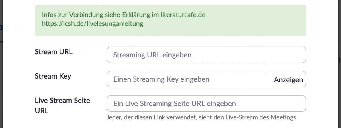 Übernehmen Sie nach Klick auf »Live Stream Einstellungen konfigurieren« die Daten Ihrer YouTube- oder Facebook-Ankündigung