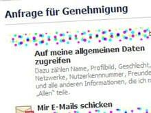 Eine Facebook-Anwendung will Zugriff auf Ihre Daten